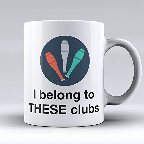 NA Tazza da caffè da giocoliere - Tazza da caffè da giocoliere - Regalo Divertente per giocolieri - Appartengo a Questi Club 2 '- Miglior Regalo per giocolieri - 11 Once