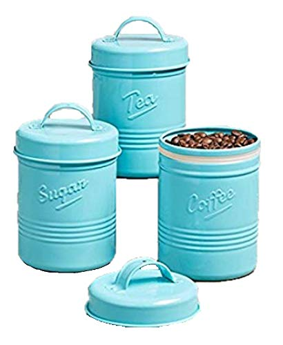 The Lakeside Collection Set of 3 Vintage Metal Canisters Blue