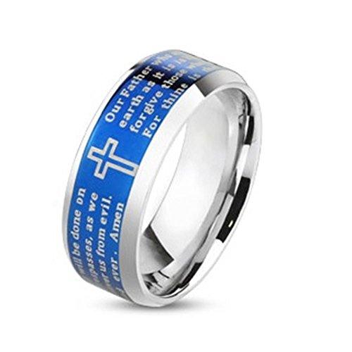 Tapsi´s Coolbodyart®|Statement Finger Ring Edelstahl Blau Vater Unser Amen 8mm Breit 61(19,5)