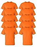 Gildan mens Ultra Cotton 6 oz. T-Shirt(G200)-SAFETY ORANGE-XL-10PK