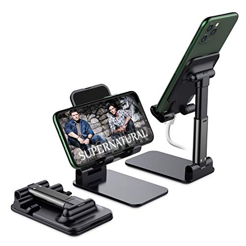 Foldable Cell Phone Stand, Yoozon [2021 Updated] Angle & Height Adjustable Desk Phone Holder with Stable Anti-Slip Design Compatible with iPhone 12 12 Pro Smartphones iPad Mini Kindle