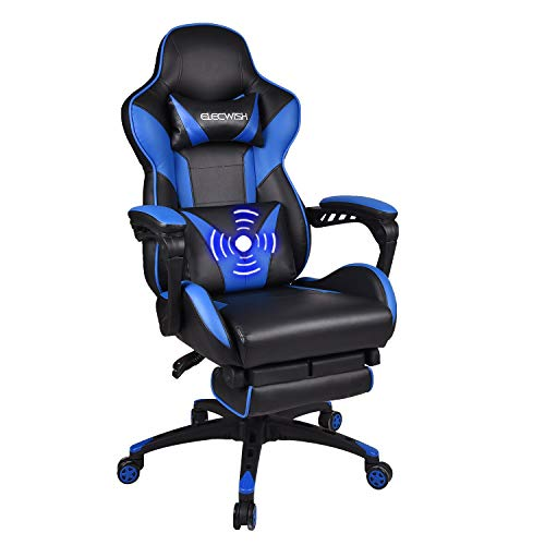 Fullwatt Racing Gaming Chair for adults with Footrest and Massage Lumbar Pillow, Swivel Height Adjustable Reclining PU Leather Video Game Chair, E-Sports Gaming Chair Big and Tall(blue)