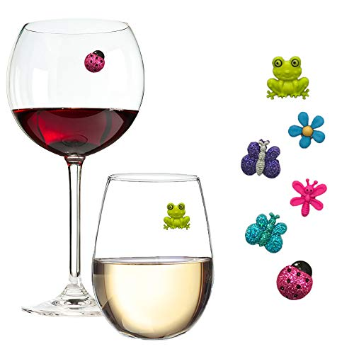 glass markers Wine Glass Charms Magnetic Drink Markers Set of 6 Fun Summer Cocktail Identifiers with Ladybug Frog and Flower Wine Charms