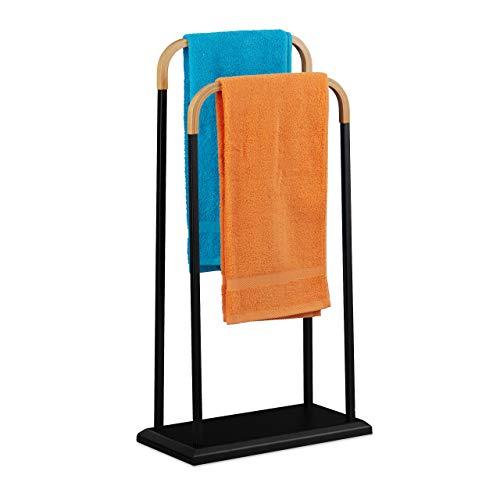 Relaxdays Handtuchhalter stehend, aus Metall, 2 Stangen aus Bambus, für Hand- und Badetücher, HBT: 85x45x22 cm, schwarz