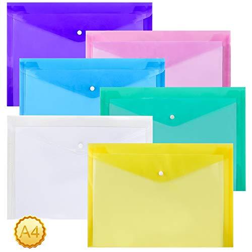 YGEOMER 24PCS Plastic Envelopes Poly Envelope Folder with Snap Button Closure, Waterproof Transparent Project Envelope Folder, A4 Letter Size