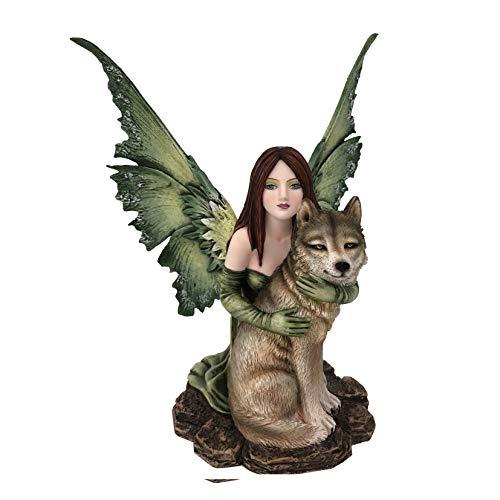 Les Alpes Orig. Fata Sina con Lupo, 22,5cm, Orig Fairy Land Collection - Figura Statuina Dipinta a Mano - 042 779