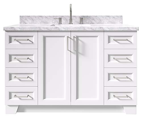 """ARIEL 55"""" Inch White Bathroom Vanity with 1.5"""" Inch Thick Edge Italian Carrara Marble Countertop 