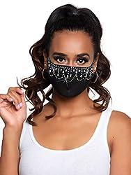 Priya Black Rhinestone Fashionable Face Mask
