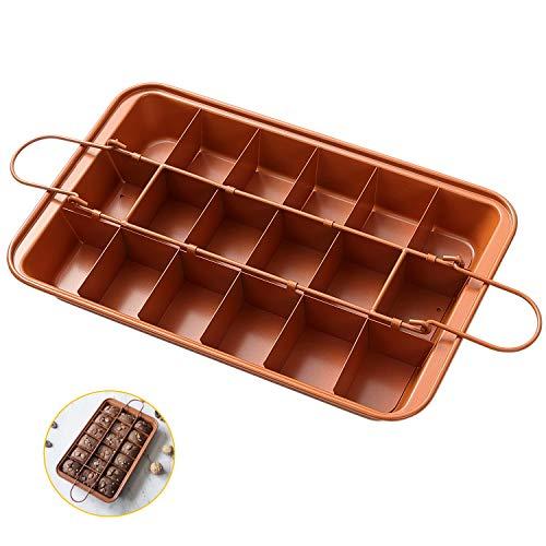 Patelnia do pieczenia brownie z przegrodami, nieprzywierająca 18 foremek do pieczenia ciastek brownie, 31 x 20 x 4,0 cm Naczynia do pieczenia ze stali węglowej