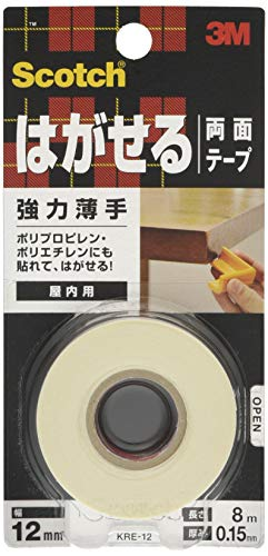 3M スコッチ はがせる両面テープ 強力 薄手 12mm×8m KRE-12