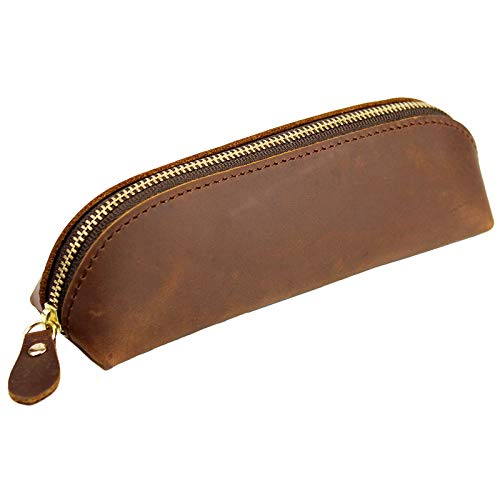 DK86 Leather Zipper Pen Case Pouch Holder Bag - Small Travel Makeup Cosmetic Bag - Vintage Brown