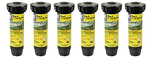 "K-Rain Pro-S 4"" Professional Pop-Up Sprays- 6Pack w. 15' Adjustable Pattern Nozzles(0°-360°)"