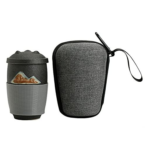 LEERIAN Taza de cerámica Taza de Agua de Oficina de 300 ml con colador y Funda Protectora de Silicona, Negro