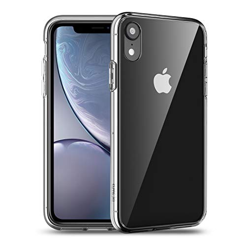 POWR iPhone XR Hülle, Transparent & Anti Gelb, Stoßfest Klar iPhone XR Case Hard PC Back & Soft Silikon Bumper Cover Handyhülle für iPhone XR - Vollständig Transparent