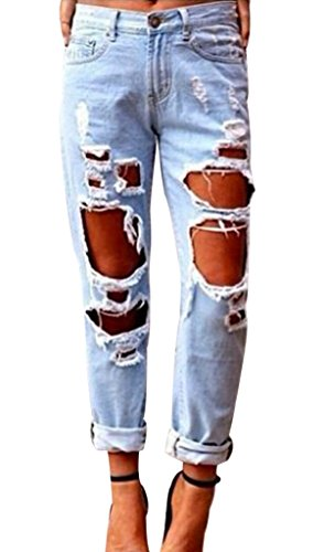 Popbop Womens Skinny Faded Ripped Casual Slim Denim Cotton Jeans