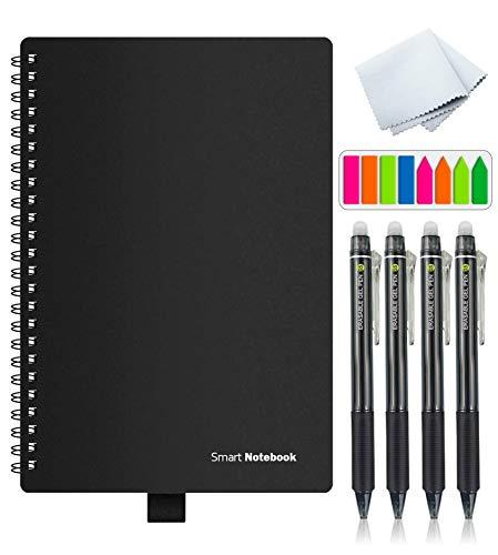 TAKUMI Cuaderno Inteligente Reutilizable, Libreta Inteligente Tamaño A5 Agenda, Smart Notebook de 100 páginas (50 hojas), 4 lapiceros, Pasta Negra, 50 páginas a Rayas y 50 páginas a Puntos.