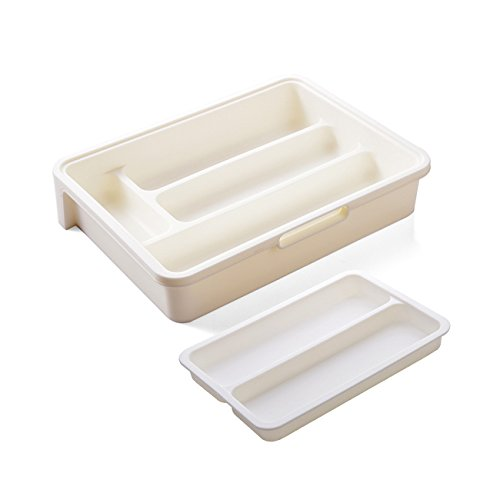 HornTide 3-in-1 Flatware Tray Expandable Utensil Storage Organizer Plastic Tableware Holder for Cutlery Receive and More - White