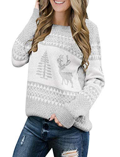 LookbookStore Women's Grey Long Sleeves Ugly Christmas Tree Reindeer Winter Holiday Knit Sweater Pullover Size L 12 14
