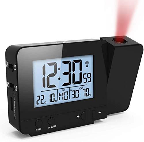 GuDoQi Reloj de proyección Digital LED Reloj Proyector Reloj Despertador con Dual Alarma Temperatura Higrómetro Función Snooze Puerto USB Atenuante 12/24 Horas (Negro)