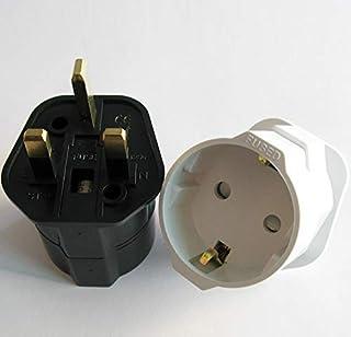 GOUWEI European 2 Pin to UK 3 Pin Plug Adaptor Euro EU Schuko Travel Mains Adapter