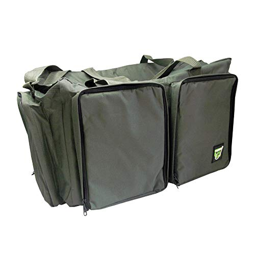 Carp On - Fishing Tackle Luggage 600D GREEN Carryall (52 x 30 x 33cm) - For Carrying all your fishing Equipment and Accessories - Use on the Riverside or Bank [27-2110]