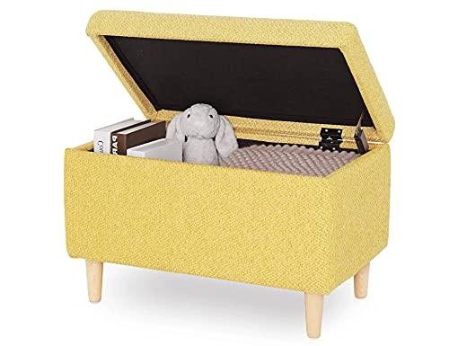 Sitzbank mit Stauraum Aufbewahrungsbox aus Leinen Sitzhocker und Deckel mit Holzfüßen Truhenbank Stoffbezug Gepolsterte Betthocker Modern Design für Wohnzimmer Büro Schlafzimmer Flur Gelb - 2