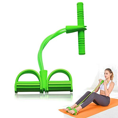 DZANS Premium 2019 Multifunktions Spannseil Fitness Pedal Trainingsseil Zugbänder, 4 Tube Leg Exerciser Pull Rope, Fitness Bauchtrainer Bodybuilding Expander Pedal Widerstand Band (Grün)