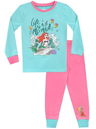 Disney Pigiama a Maniche Lunghe per Ragazze La Sirenetta Vestibilitta Stretta Multicolore 5-6 Anni