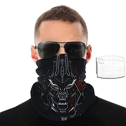 VOROY Trans-Formers Dece-Pticons Silenciador con 6 filtros para protección facial a prueba de sol, calentador de cuello negro para niña de 9.8 pulgadas x 19.7 pulgadas