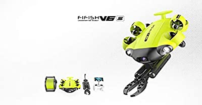 QYSEA FIFISH V6S Underwater Drone + Claw + VR Box + 100M Cable + Spool + 64G Internal Storage + Industrial Case Bundle