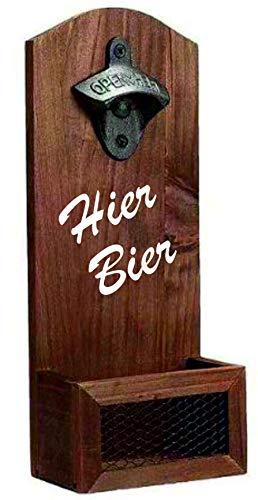 Apribottiglie da parete con contenitore di raccolta con scritta: qui birra, festa del papà, idea regalo, apribottiglie per bar, cantina per feste, in vero legno, look vintage, regalo da uomo per papà