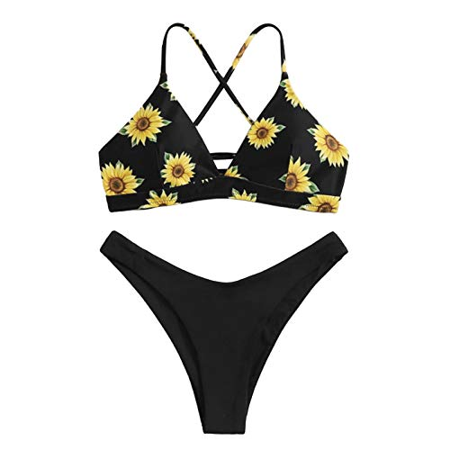 I3CKIZCE Set Bikini per Donna Bikini Imbottito Push Up con Cinghie Bikini Brasiliano con Stampa Floreale Slip Semplici (Girasole Nero, S)