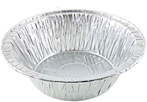 PACTOGO 5 3/4' Aluminum Foil Meat Pot Pie Pan Disposable 12 oz. Cooking Baking Tin - Heavy Duty Made in USA (Pack of 50)