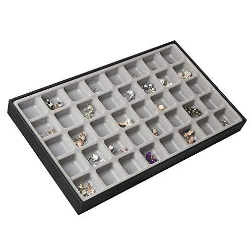 JackCubeDesign 40 Fächer stapelbar Leder Schmuck Tablett Ohrring Halskette Armband Ring Veranstalter Display Aufbewahrungsbox (Set 1, schwarz, 40,6 x 24,4 x 4 cm) -: MK212-1A
