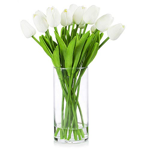 Enova Home Artificial Real Touch Tulips Flower Arrangement in Clear Glass Vase with Faux Water for Home Wedding Decoration (White)