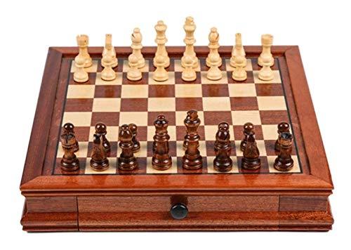 DZHTSWD Conjunto de ajedrez Conjunto de ajedrez de Madera Maciza con cajón Doble Magnético Piezas Hechas a Mano de ajedrez Multifunción para Juegos de ajedrez Adulto Ajedrez (Tamaño: Grande)