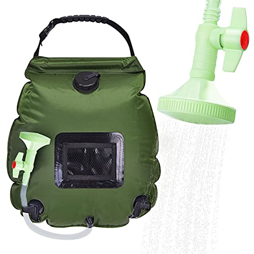Yolife Solar Shower Bag, 5 Gallons/20L Portable Camping Shower Bag, Solar Heating Bag with On-Off Switchable Shower Head and Removable Hose,for Camping,Outdoor,Hiking,Traveling,Beach (Army Green)
