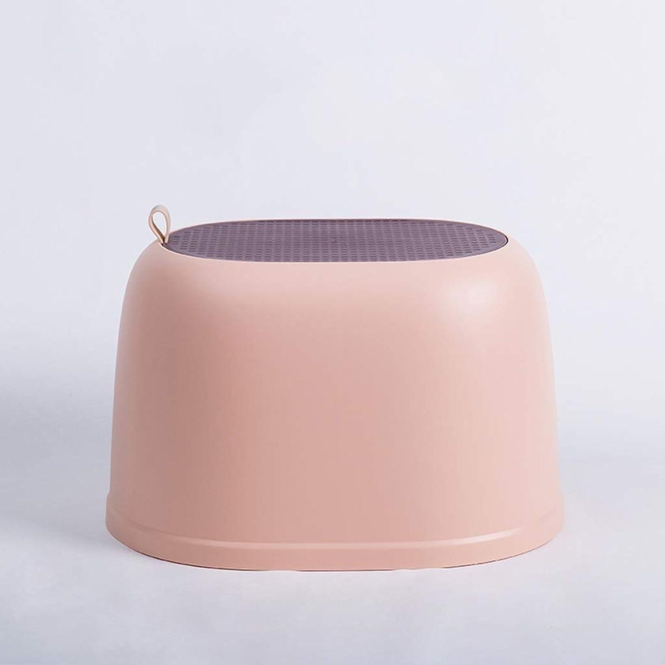 ラブ注意若さXJLXX 家庭用プラスチックラウンドスツールリビングルーム肥厚靴ベンチバスルームランドリースツール ソファースツール (Color : Pink)