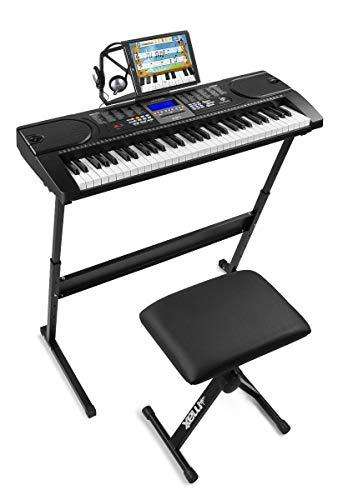 MAX KB1SET komplettes elektronisches Keyboard Piano Paket für Anfänger mit MAX KB1 Keyboard, Sitzbank, Keyboardständer, Kopfhörer und Keyboard Aufklebern