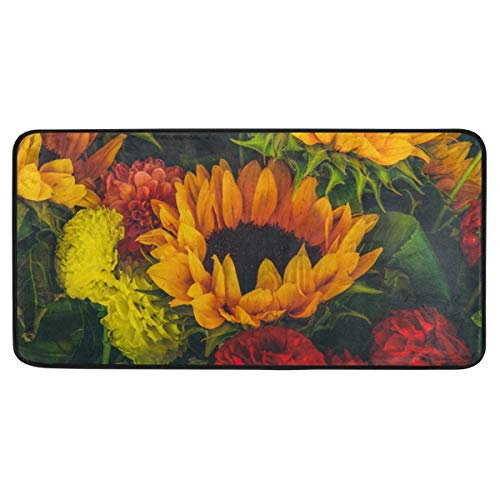 ALAZA Sunflower Standing Mat Kitchen Rug Mat, Comfort Flooring, Commercial Grade Pads, Absorbent, Ergonomic Floor Pad, Rugs for Office Stand Up Desk, 39x20in