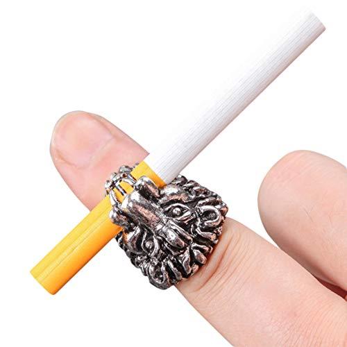 favourall Anillo para cigarrillos, con forma de león, de aleación para fumar, protege tu dedo de fumador, anillo para hombres y mujeres, oro y plata