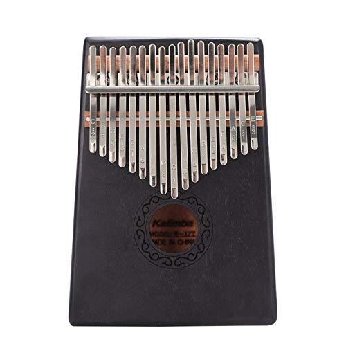 Kalimba, Daumenklavier 17 Keys Kalimba Daumenklavier Holz Mahagoni Finger Percussion Musikinstrument mit Tuning Hammer Cloth Aufkleber Tasche (Color : Black)