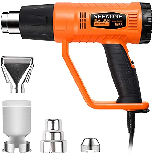 SEEKONE Heat Gun, 2000W 400℃ & 600℃ Professional Hot Air Gun with 4 Nozzles Dual-Temperature Settings for Remove Paint, Varnish, Crafts, Dissolve Adhesives