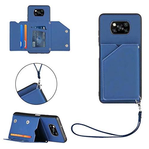 Ttimao Compatible con Funda Xiaomi Poco X3 NFC [Protector de Pantalla] con Tarjetero y Soporte Función PU Cuero Flip Wallet Caso Suave Silicona Antigolpes Cáscara-Azul Real
