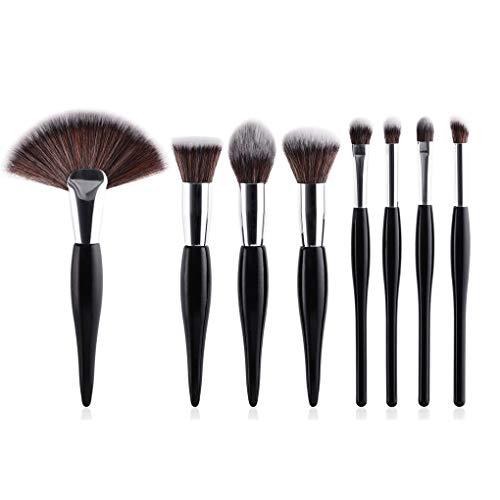 8Pcs Maquillage Professionnel Pinceaux - Fard À Joues Fondation, Fard À Paupières Make Up Fan Brosses Ensembles Cosmétiques, Outils De Maquillage Professionnel,Noir