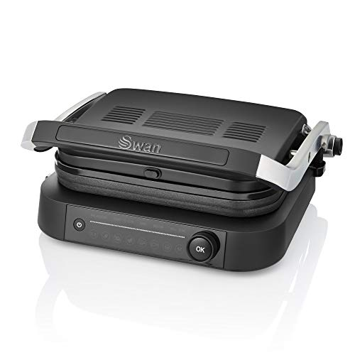 Swan Stealth Smart Grill, Intelligent Health Grill, Pre-set Cooking Options & Cooking Sensors, Detachable Grill Plates, 2100 W, Matte Black, SP22140BLKN