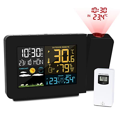Kalawen Projection Alarm Clock with Outdoor Sensor, Personal...