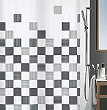 """Spirella Anti-Schimmel Duschvorhang - Anti-Bakteriell, waschbar, wasserdicht, Polyester, """"Part"""" 180x200cm Weiß, Grau Schwarz"""