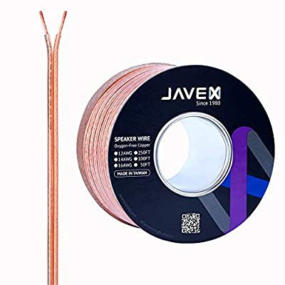 JAVEX Speaker Wire 14-Gauge [2.11mm2] [Oxygen-Free Copper 99.9%] Stranded Copper, Flat Cable, Cable for Hi-Fi Systems, Amplifiers, AV receivers and Car Audio Systems, 100FT [30.5M]