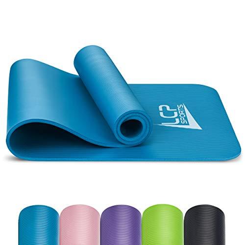 LCP Sports Yogamatte, Fitnessmatte, Trainingsmatte 190 x 60 cm mit Tragegurt, Blau